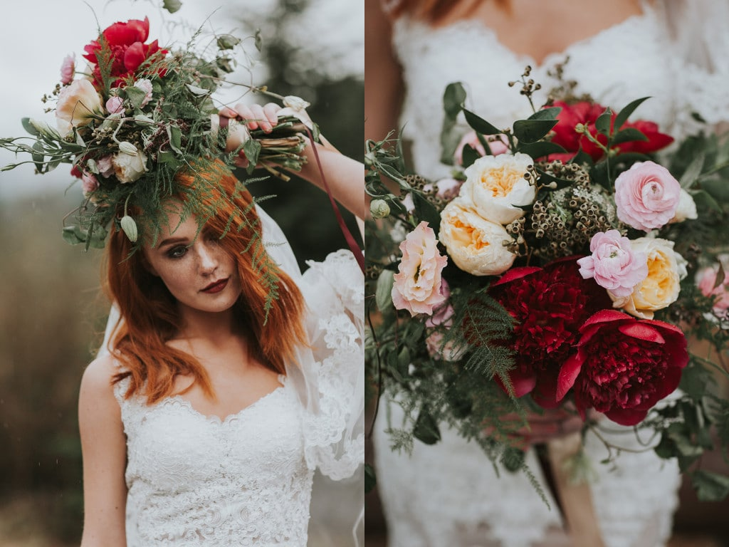 redhead bride romantic bouquet florals Snoqualmie Pass Adventure Elopement by Marcela Garcia Pulido Portland Wedding Photographer