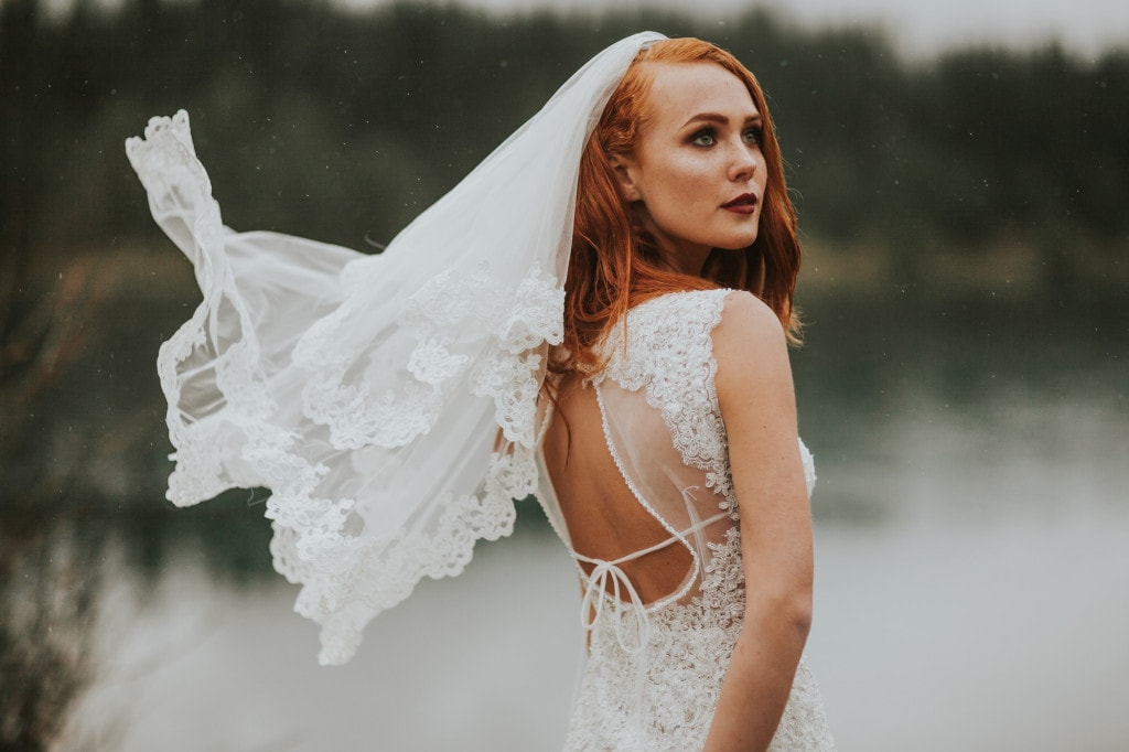 redhead bride veil in wind Snoqualmie Pass Adventure Elopement by Marcela Garcia Pulido Portland Wedding Photographer