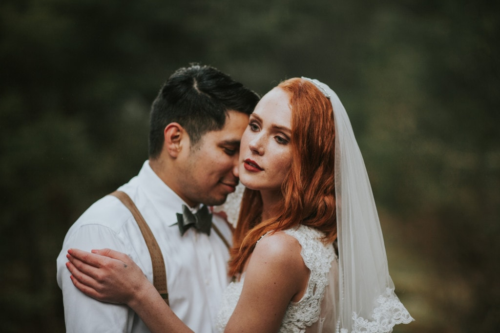 autumn wedding wilderness redhead bride Snoqualmie Pass Adventure Elopement by Marcela Garcia Pulido Portland Wedding Photographer