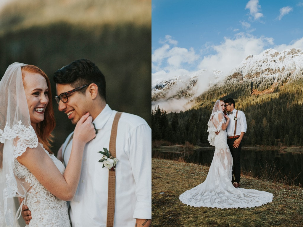 snowy mountain bride and groom portrait Snoqualmie Pass Adventure Elopement by Marcela Garcia Pulido Portland Wedding Photographer