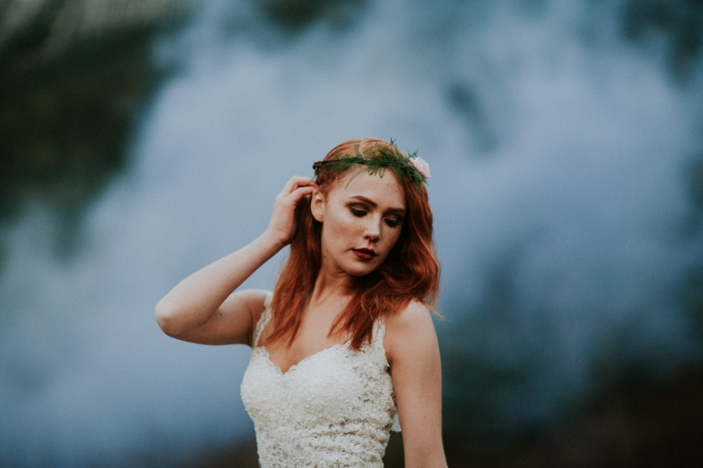 redhead bride smoke bomb portrait Snoqualmie Pass Adventure Elopement by Marcela Garcia Pulido Portland Wedding Photographer