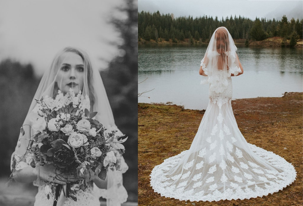 dream dresses by PMN wilderness wedding elegant bride bouquet Snoqualmie Pass Adventure Elopement by Marcela Garcia Pulido Portland Wedding Photographer