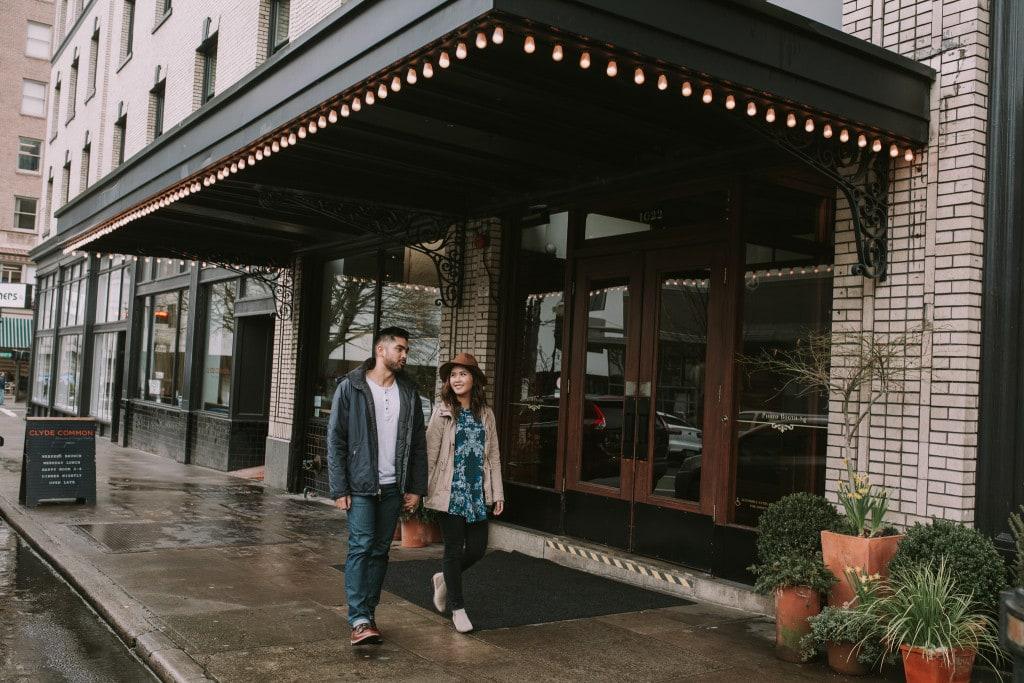 Kat and Karl walking downtown Portland