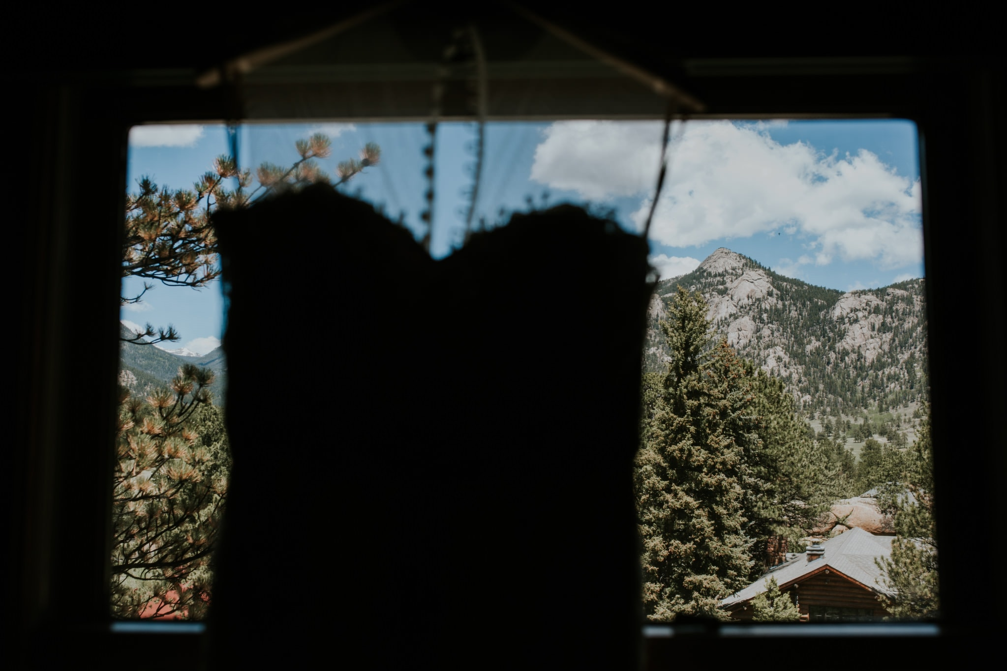 wedding gown silhouette Estes Park Rocky Mountain Wedding Photographer
