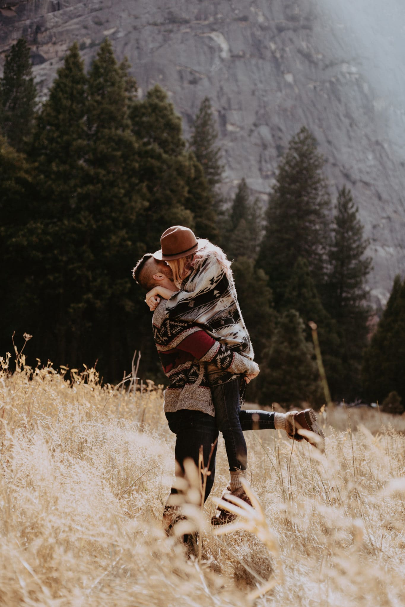 hold her and kiss her Yosemite Engagement Photographer