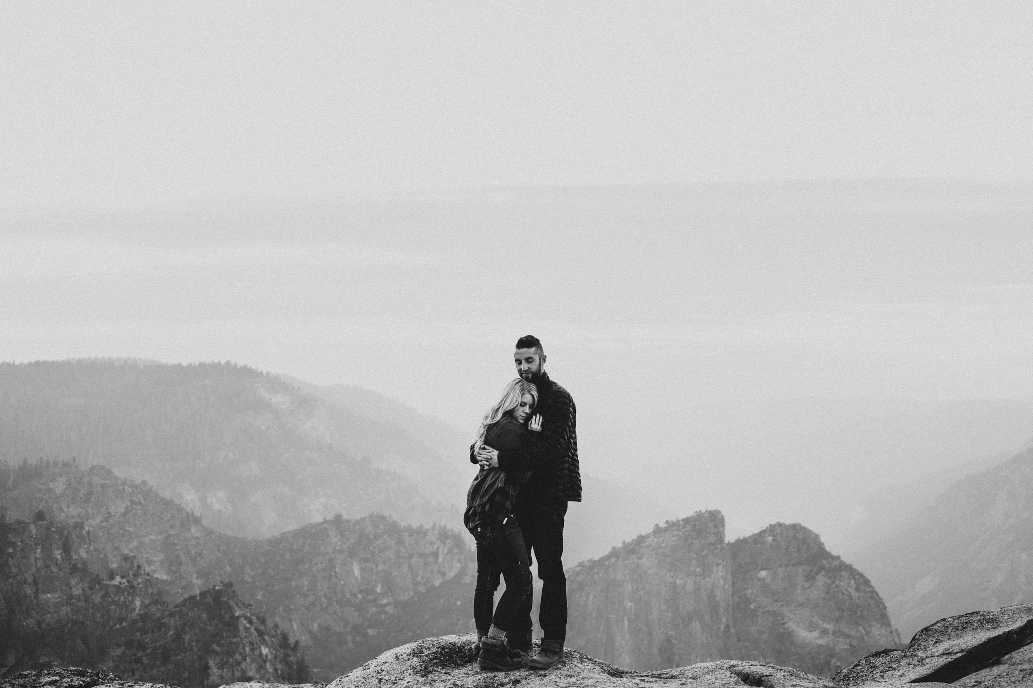 black and white view Taft Point sunset Yosemite Engagement Photographer