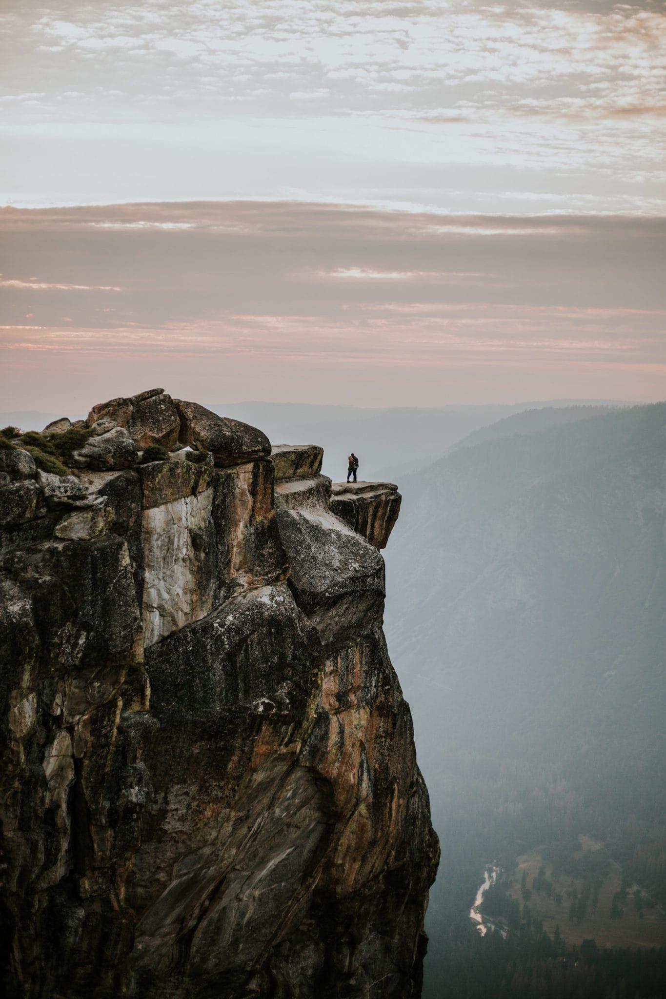 sunset at Taft Point Yosemite Engagement Photographer
