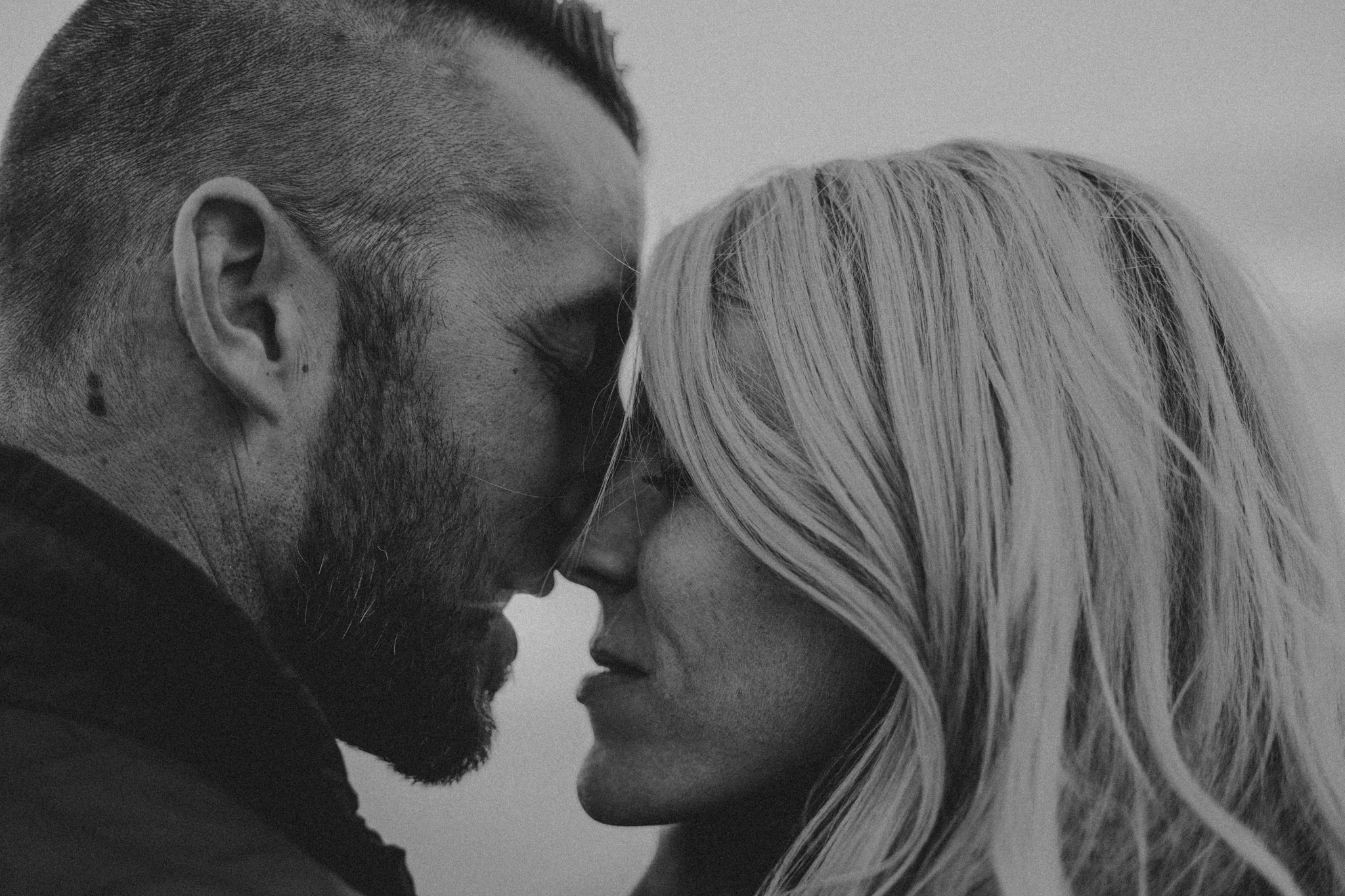 black and white almost kiss Yosemite Engagement Photographer