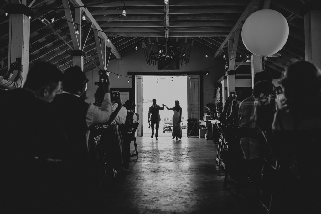 black and white grand entrance Dairyland Wedding Photographer Portland Northern California Marcela Pulido