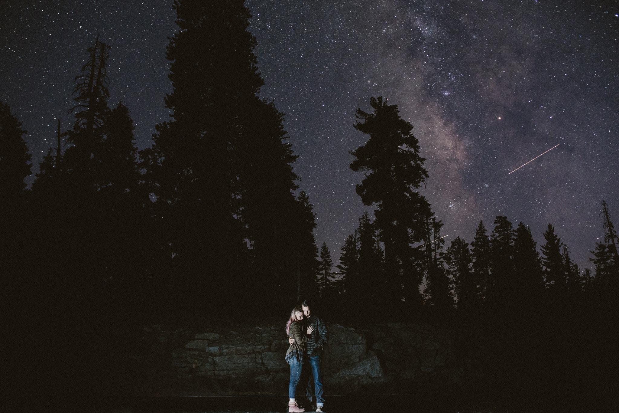 long exposure night sky Yosemite Engagement Photographer