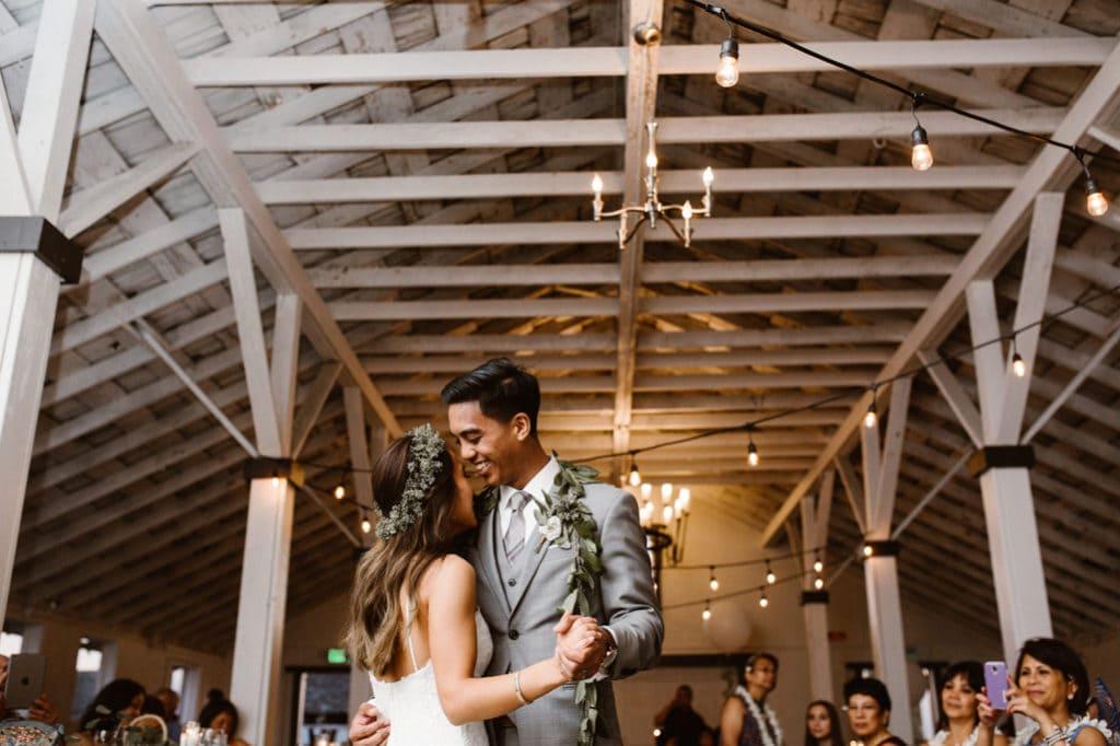 bride and groom first dance Dairyland Wedding Photographer Portland Northern California Marcela Pulido