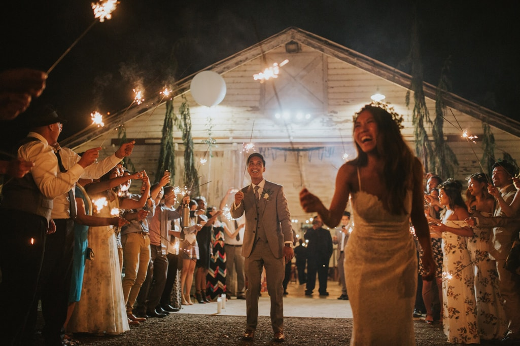 sparkler exit Dairyland Wedding Photographer Portland Northern California Marcela Pulido