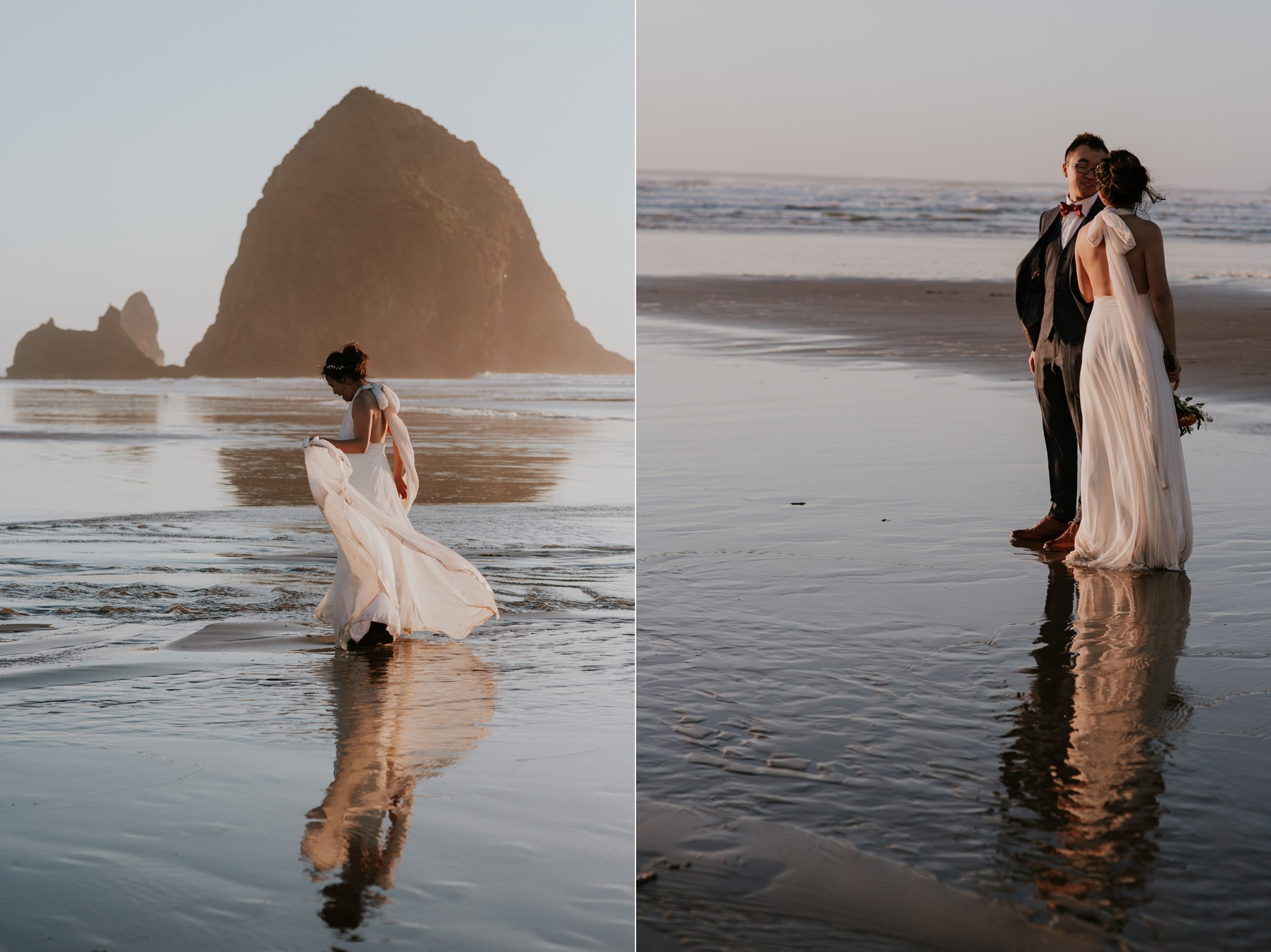 sunset haystack rock cannon beach beautiful bride and groom Portland Wedding Photographer Marcela Pulido