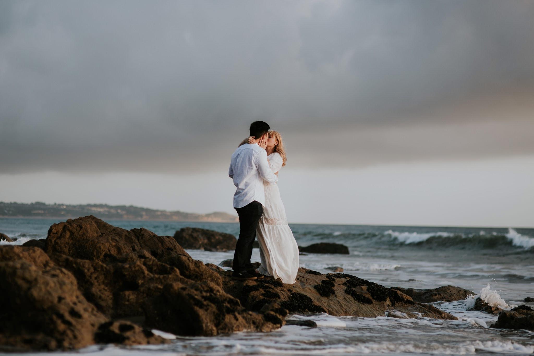 golden hour sunset perfect beach oceanside El Matador Beach Engagement Marcela Pulido Portland Wedding Photographer