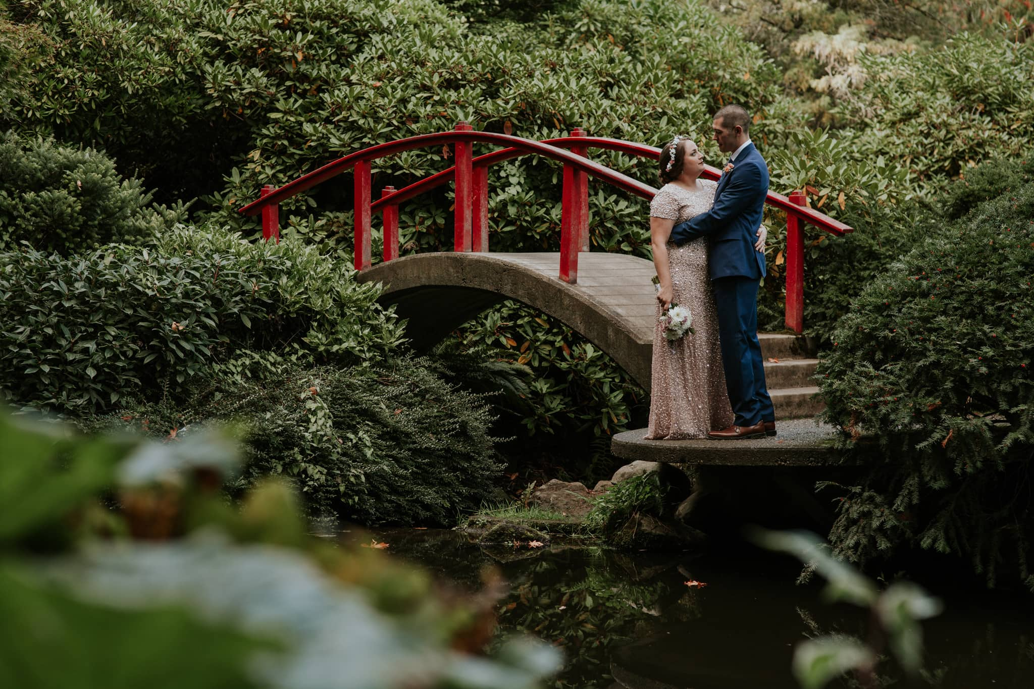 bride and groom portrait red bridge kubota garden wedding by marcela pulido photography portland wedding photographer - Kubota Garden