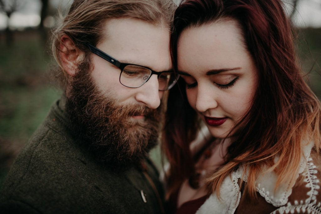 intimate close up of couple Powell Butte Portland Engagement Photographer by Marcela Pulido Photography Portland Wedding Photographer