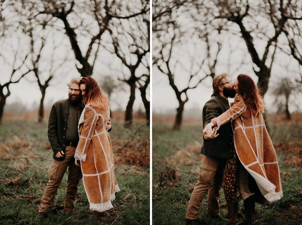 man and woman holding hands in forest Powell Butte Portland Engagement Photographer by Marcela Pulido Photography Portland Wedding Photographer