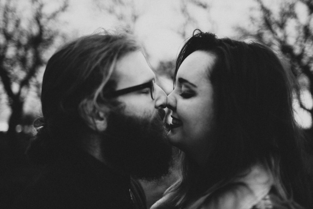intimate black and white close up of couple Powell Butte Portland Engagement Photographer by Marcela Pulido Photography Portland Wedding Photographer