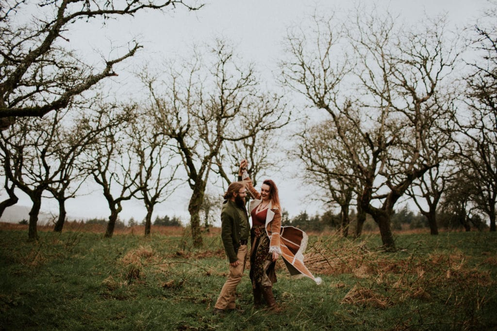 dancing in the woods Powell Butte Portland Engagement Photographer by Marcela Pulido Photography Portland Wedding Photographer