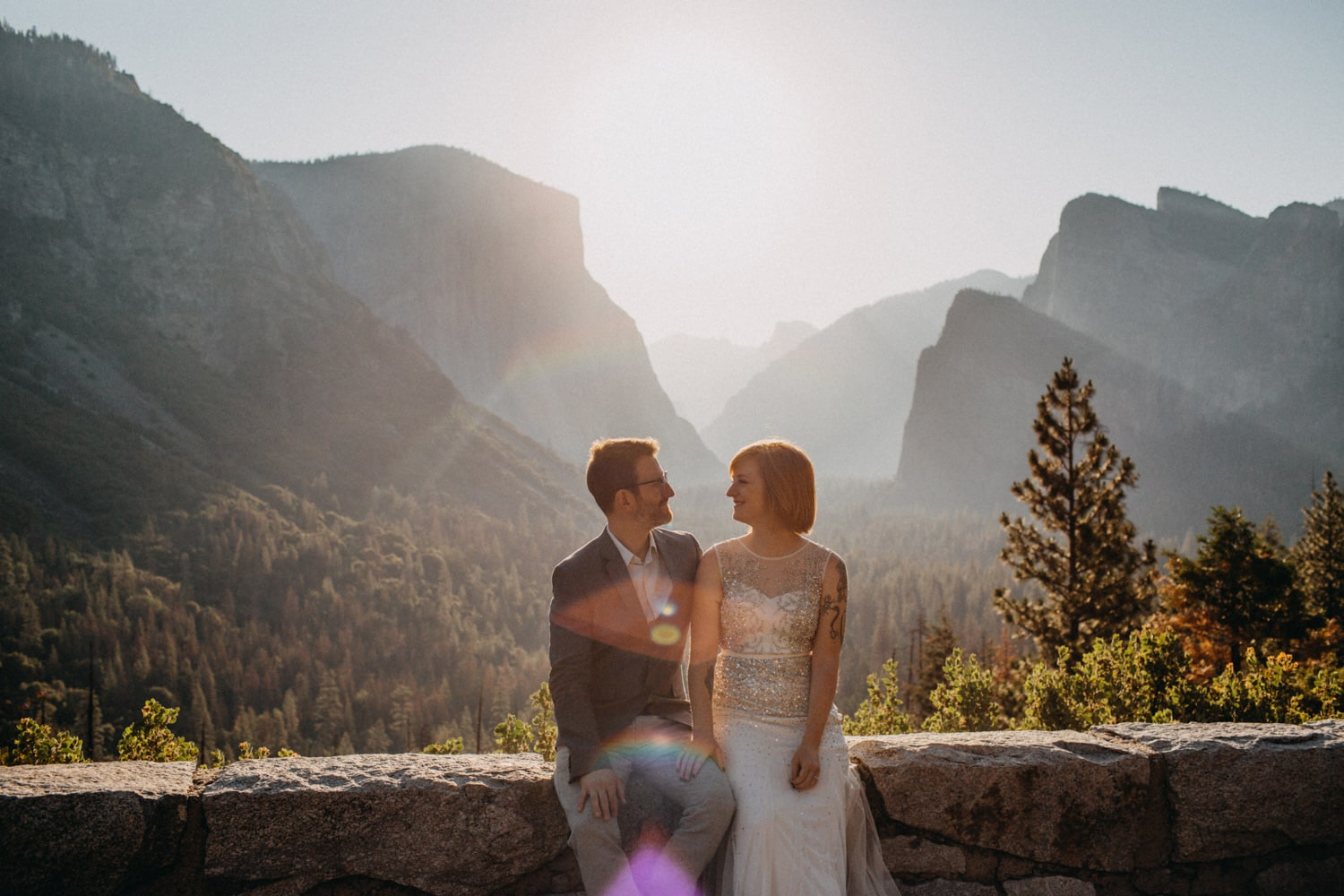 Anjali and Ben at Tunnel View for their sunrise Yosemite Elopement