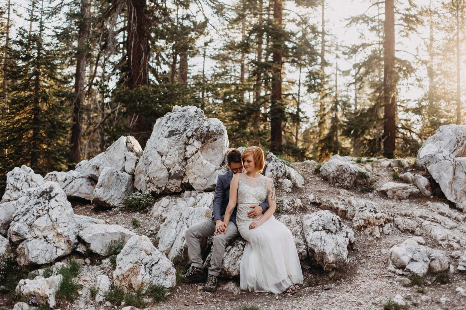 Anjali and Ben at sunset on the trail to Taft Point in Yosemite National Park for their elopement