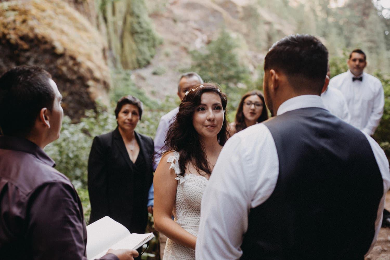 bride staring at groom Oregon Columbia River Gorge elopement