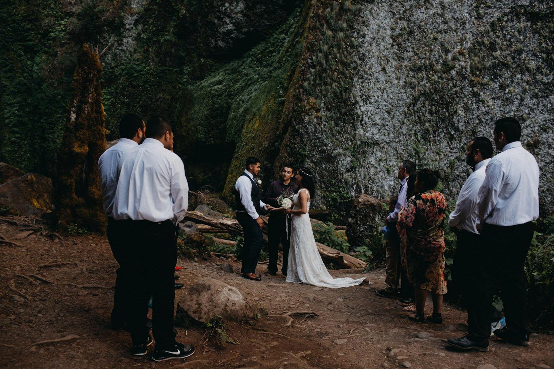 intimate ceremony at Wahclella Falls Oregon Columbia River Gorge elopement