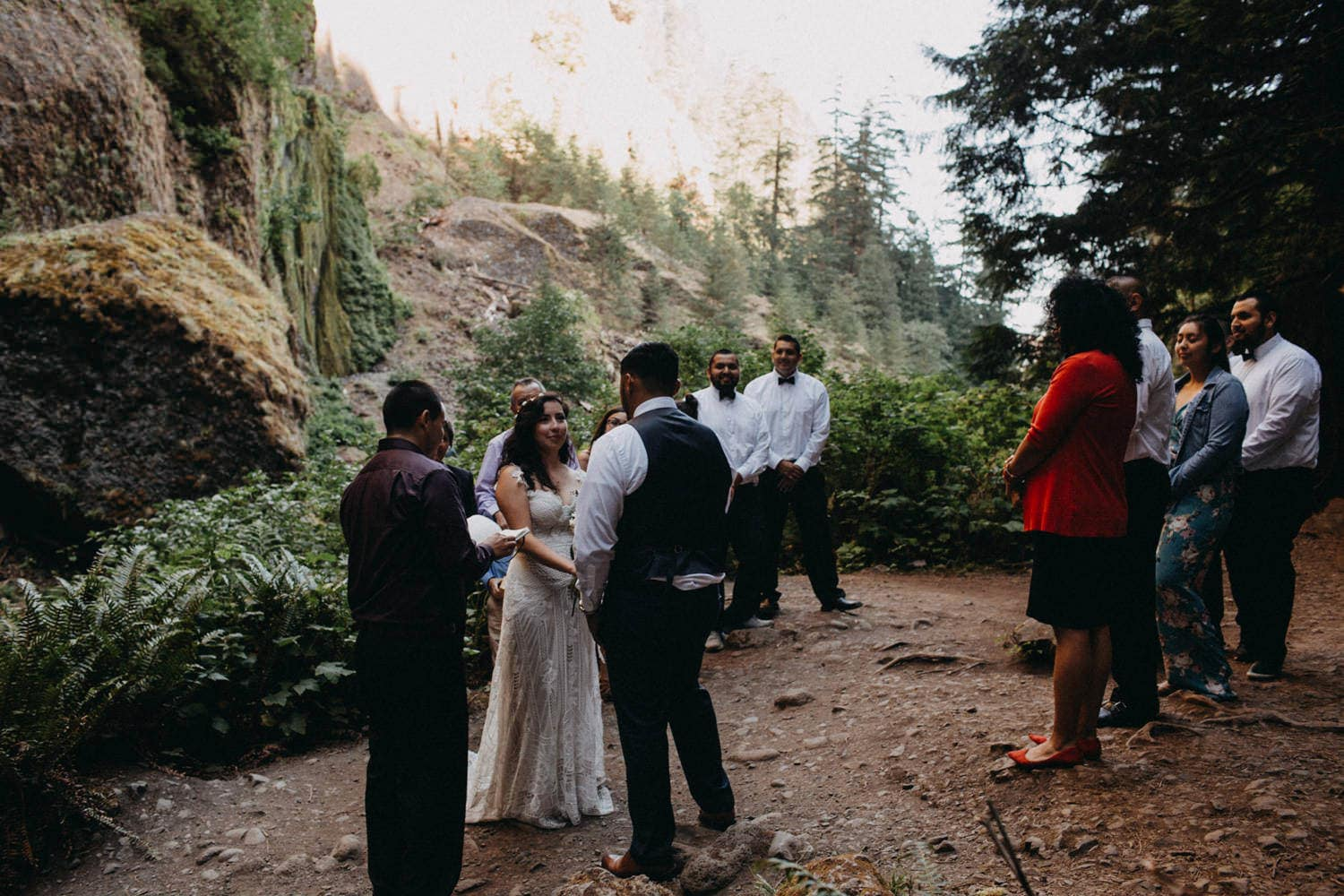 friends and family ceremony at Wahclella Falls Oregon Columbia River Gorge elopement