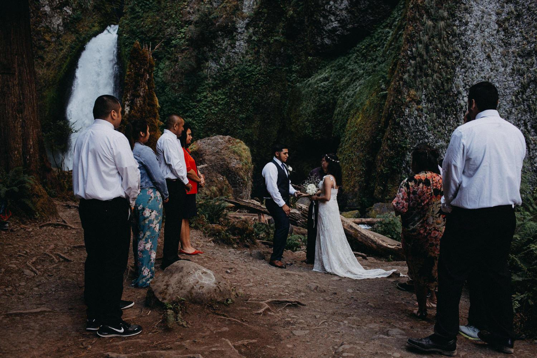 small intimate ceremony at Wahclella Falls Oregon Columbia River Gorge elopement