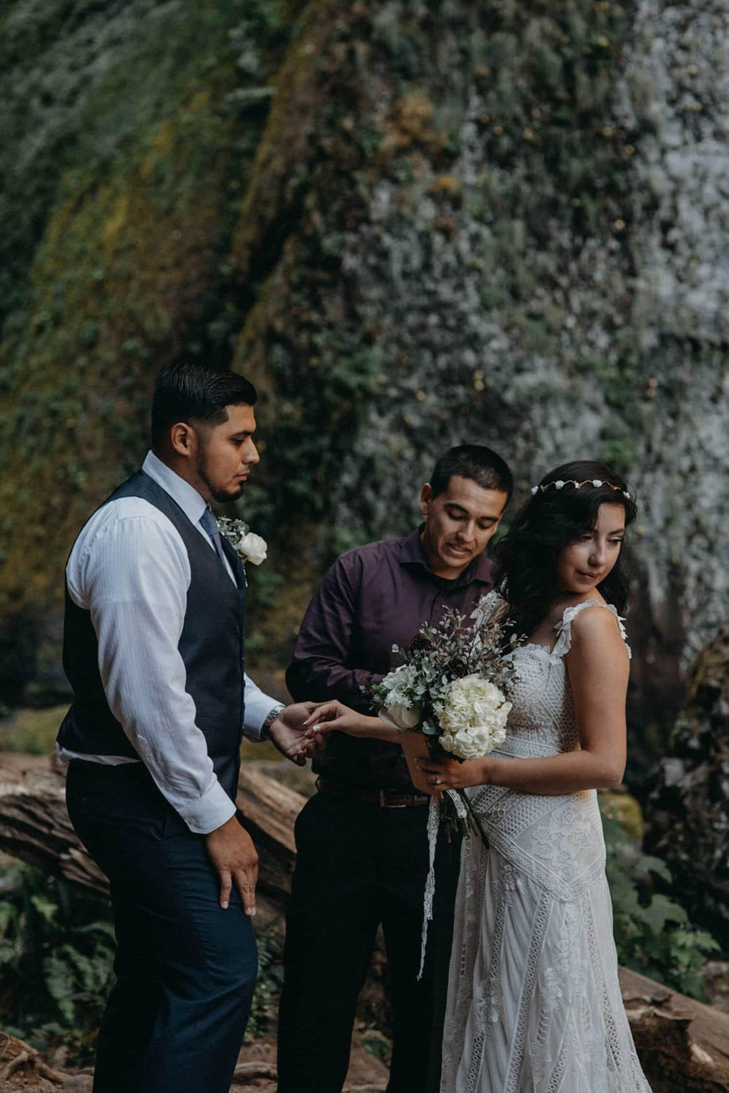 bride and groom Wahclella Falls Oregon Columbia River Gorge elopement