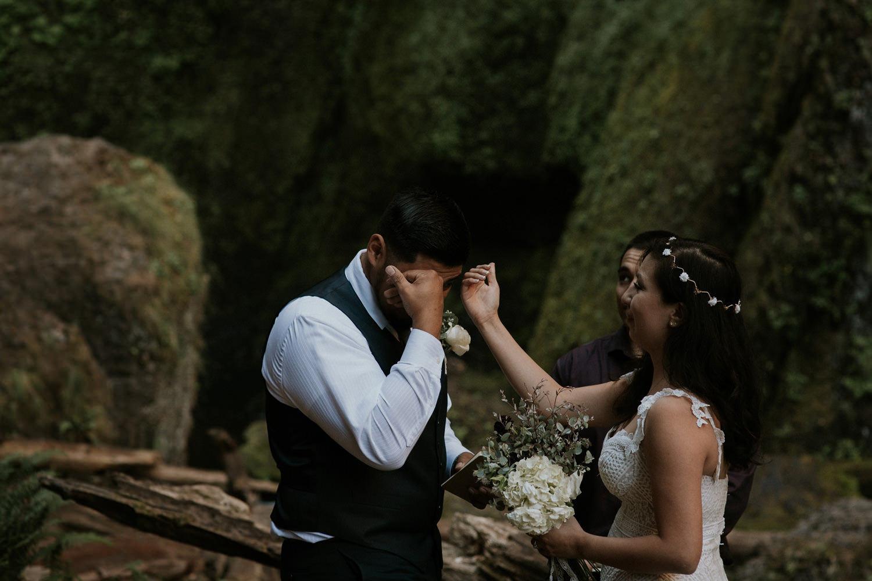 crying groom Wahclella Falls Oregon Columbia River Gorge elopement