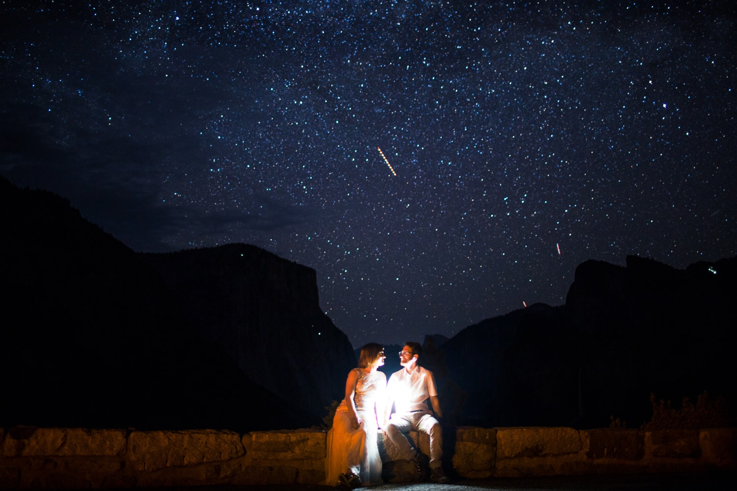 Yosemite elopement nightime photographer stars at Tunnel View with Half Dome and El Capitan