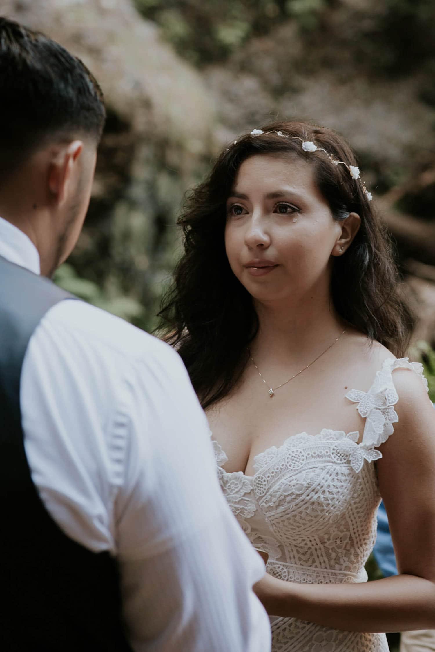 bride single tear staring at groom Oregon Columbia River Gorge elopement