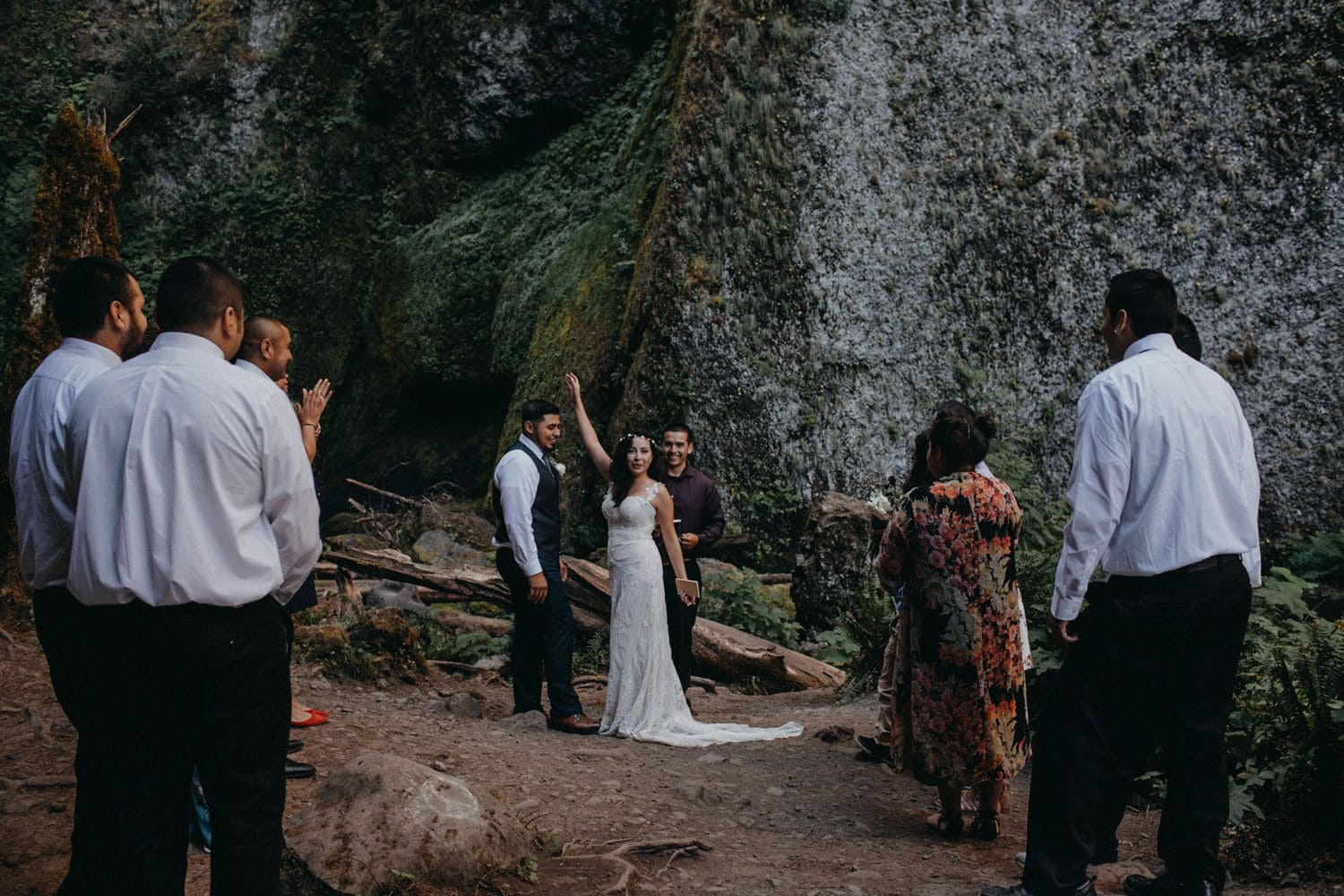excited newlyweds Oregon Columbia River Gorge elopement