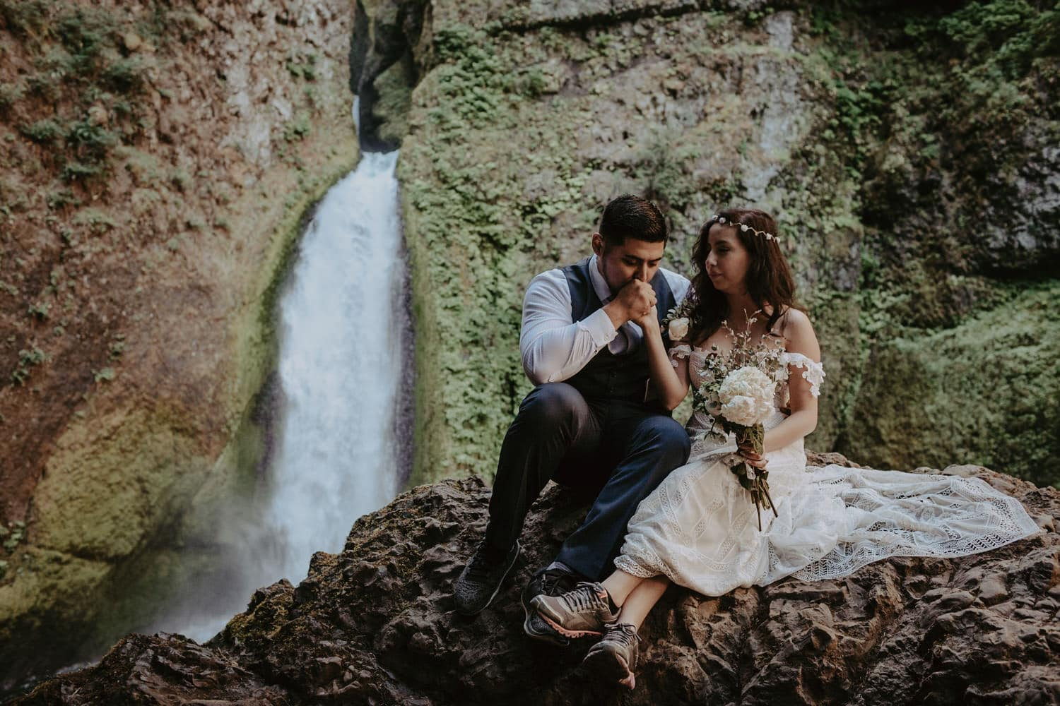 newlywed bride and groom in front of Wahclella Falls Oregon Columbia River Gorge elopement