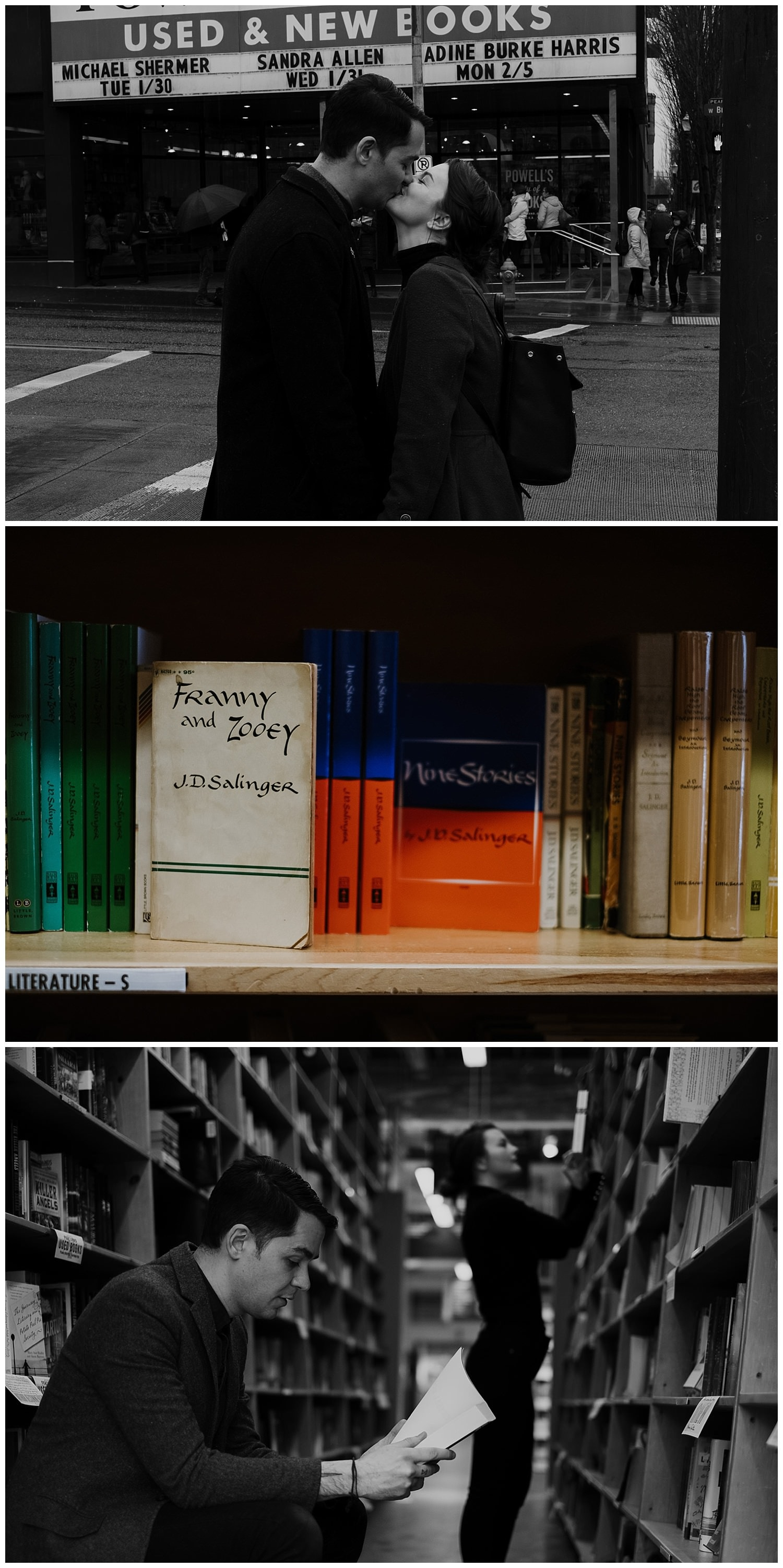 Markie and Mehran make a stop at Powell's bookstore in downtown Portland where they take a moment and read through some of their favorite books including Salinger. By Marcela Pulido Photography, Destination and Portland Wedding Photographer.