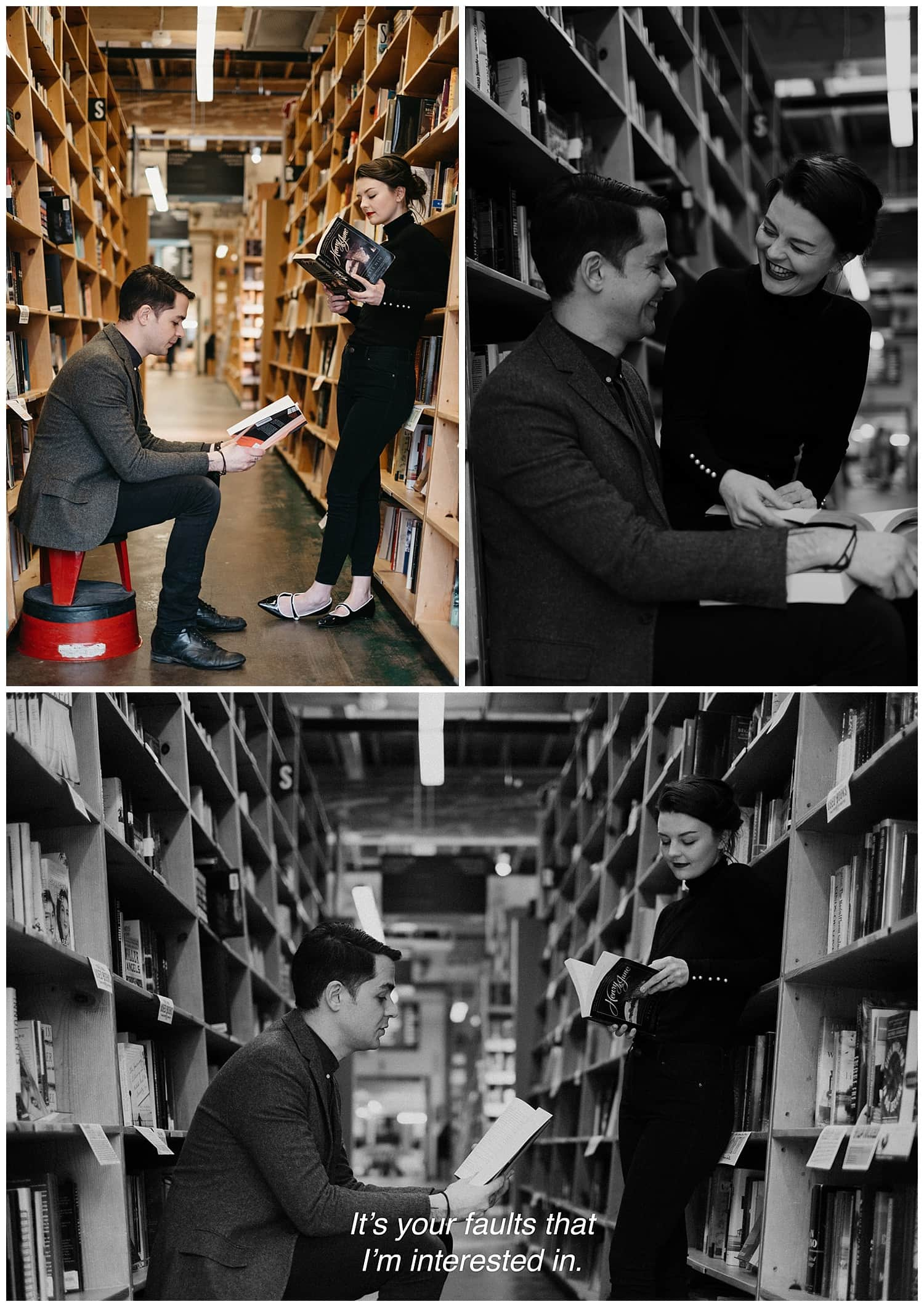 Markie and Mehran's french cinema inspired engagement session in Powell's bookstore. Black and white screen capture style. By Marcela Pulido Photography, Destination and Portland Wedding Photographer.
