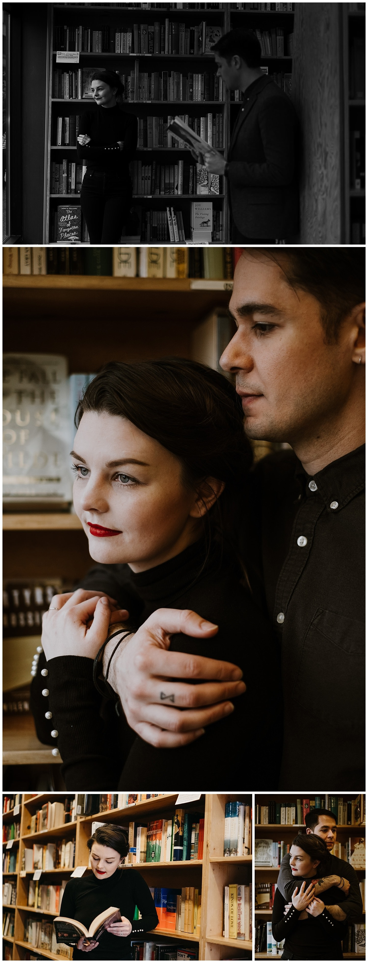 Markie and Mehran stopped by Powell's Bookstore in downtown Portland during their French Cinema inspired engagement session where they held each other closely and read books to one another. By Marcela Pulido Photography, Destination and Portland Wedding Photographer.