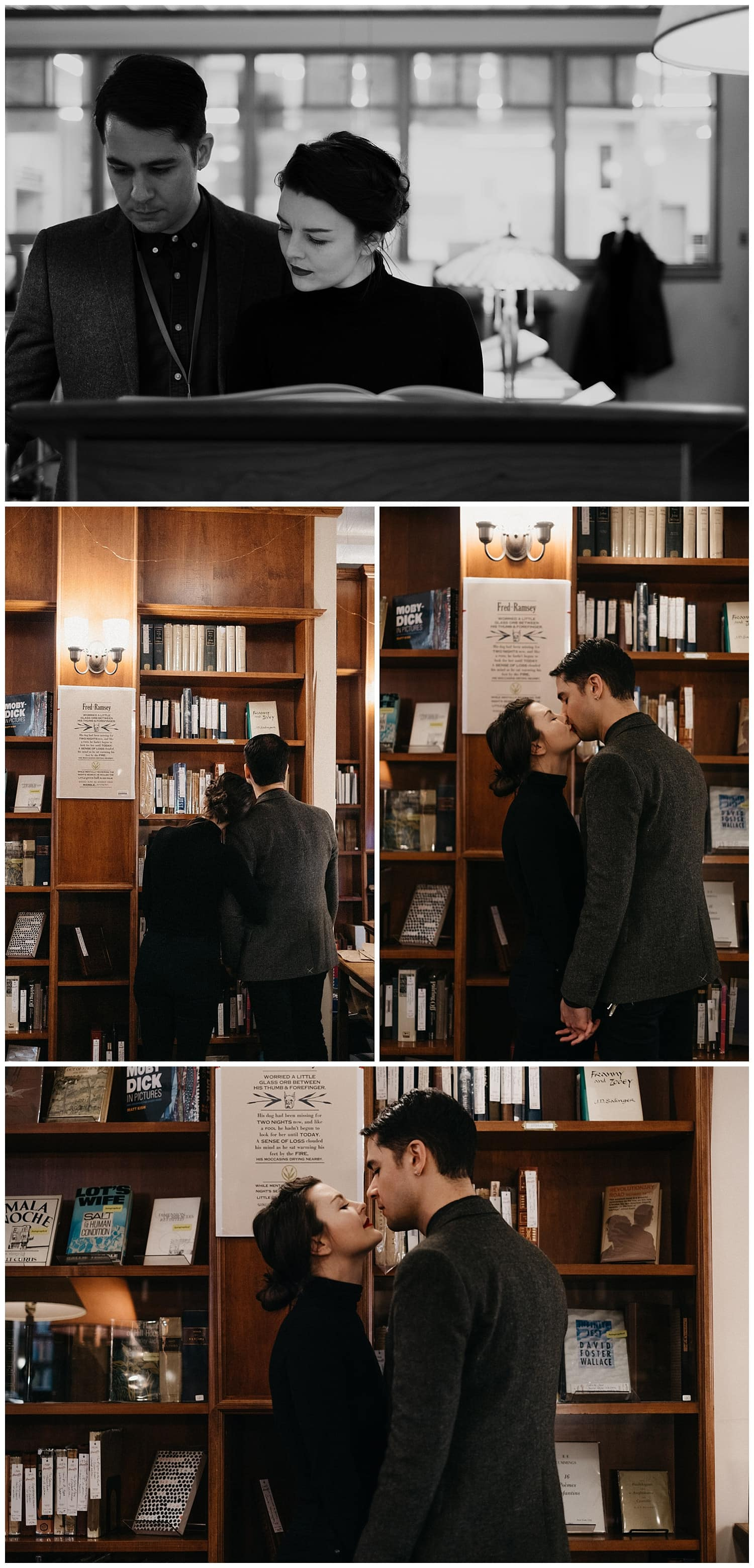 Markie and Mehran in the rare book room at Powell's Bookstore in Downtown Portland, Oregon. By Marcela Pulido Photography, Destination and Portland Wedding Photographer.