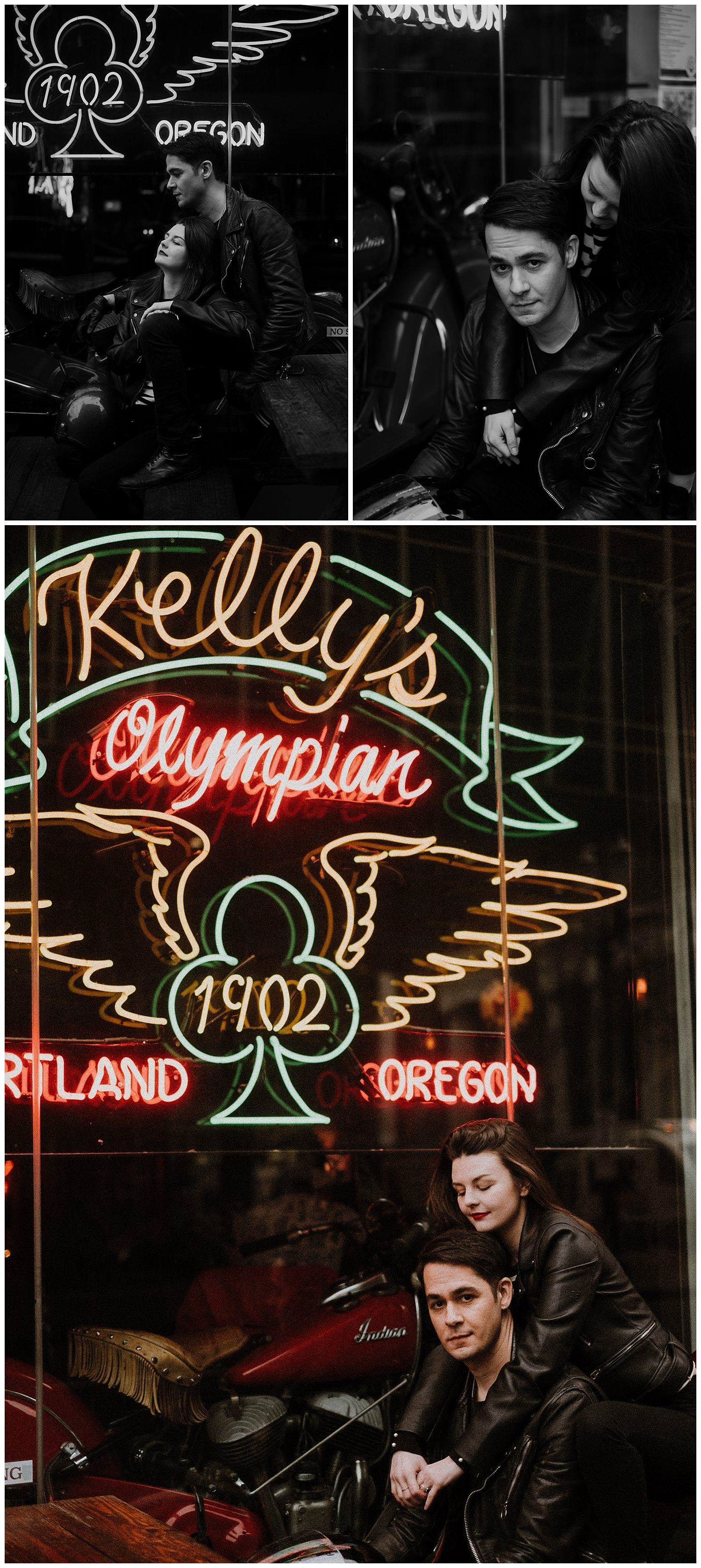 Cute hipster couple dons their motorcycle gear to pose in front of Kelly's Olympian neon sign during their Downtown Portland Engagement Session. By Marcela Pulido Photography, Destination and Portland Wedding Photographer.