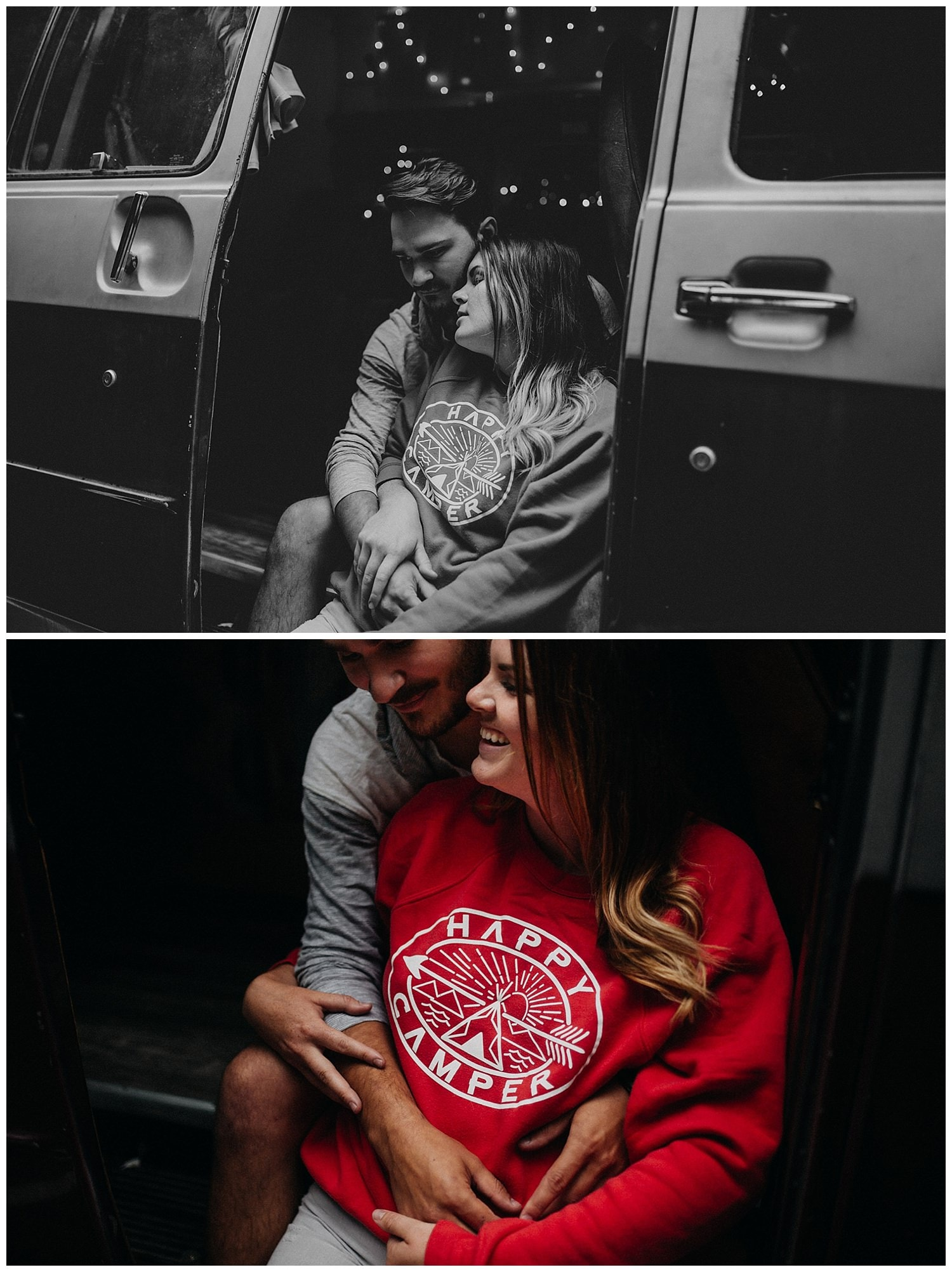 cute red Happy Camper sweater with Bethany and Jesse at Cannon Beach in ther camper van by Marcela Pulido Portland Wedding Photographer