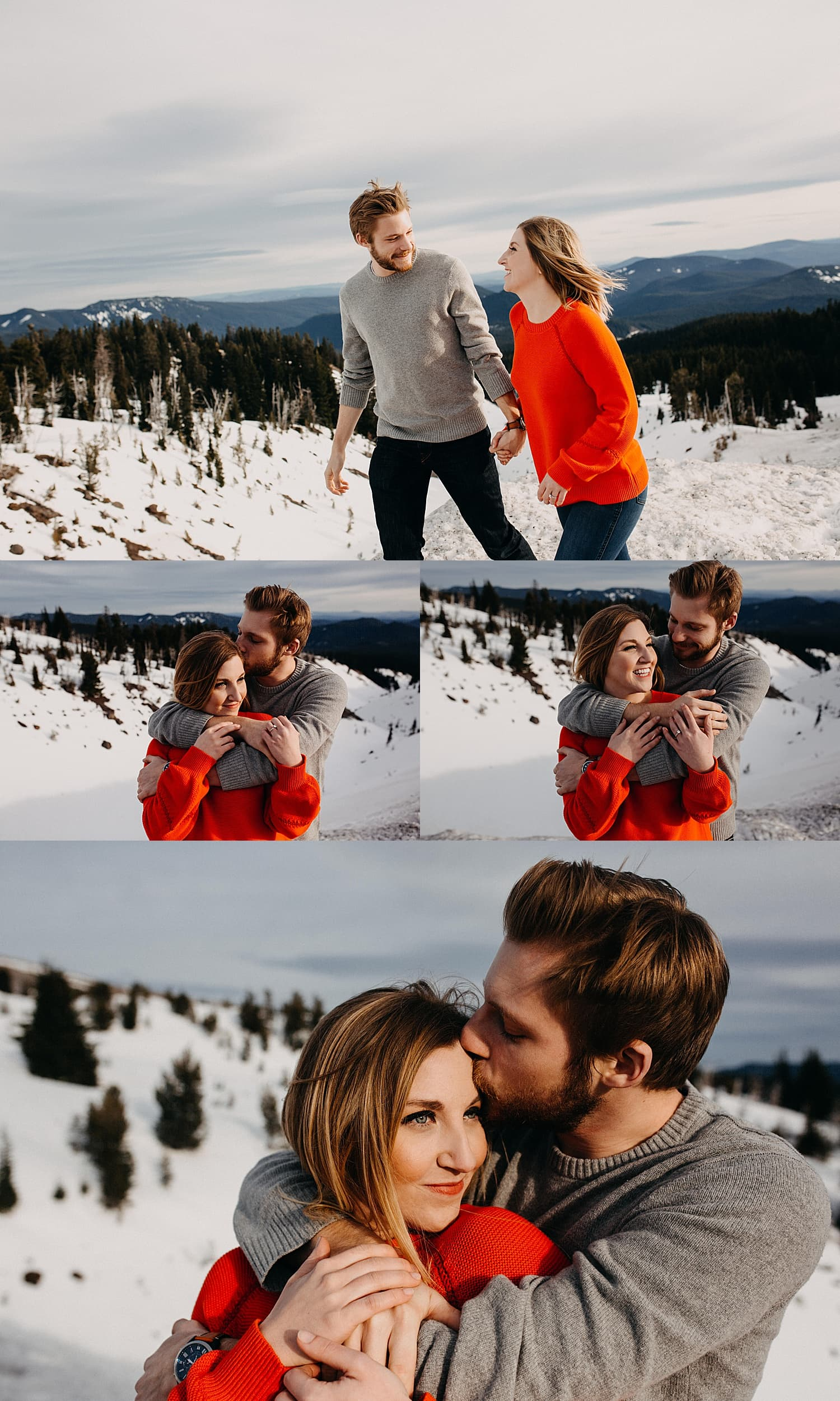 cute couple playing in the snow he's wearing a grew sweater and she's wearing an orange red sweater while he wraps his arms around her
