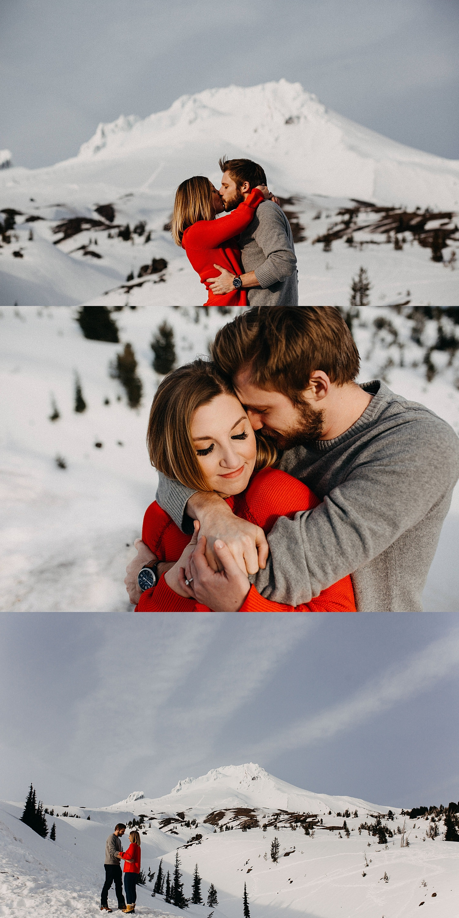 cute couple in front of a snowcapped mt hood she's wearing a red sweater with his arms wrapped around her