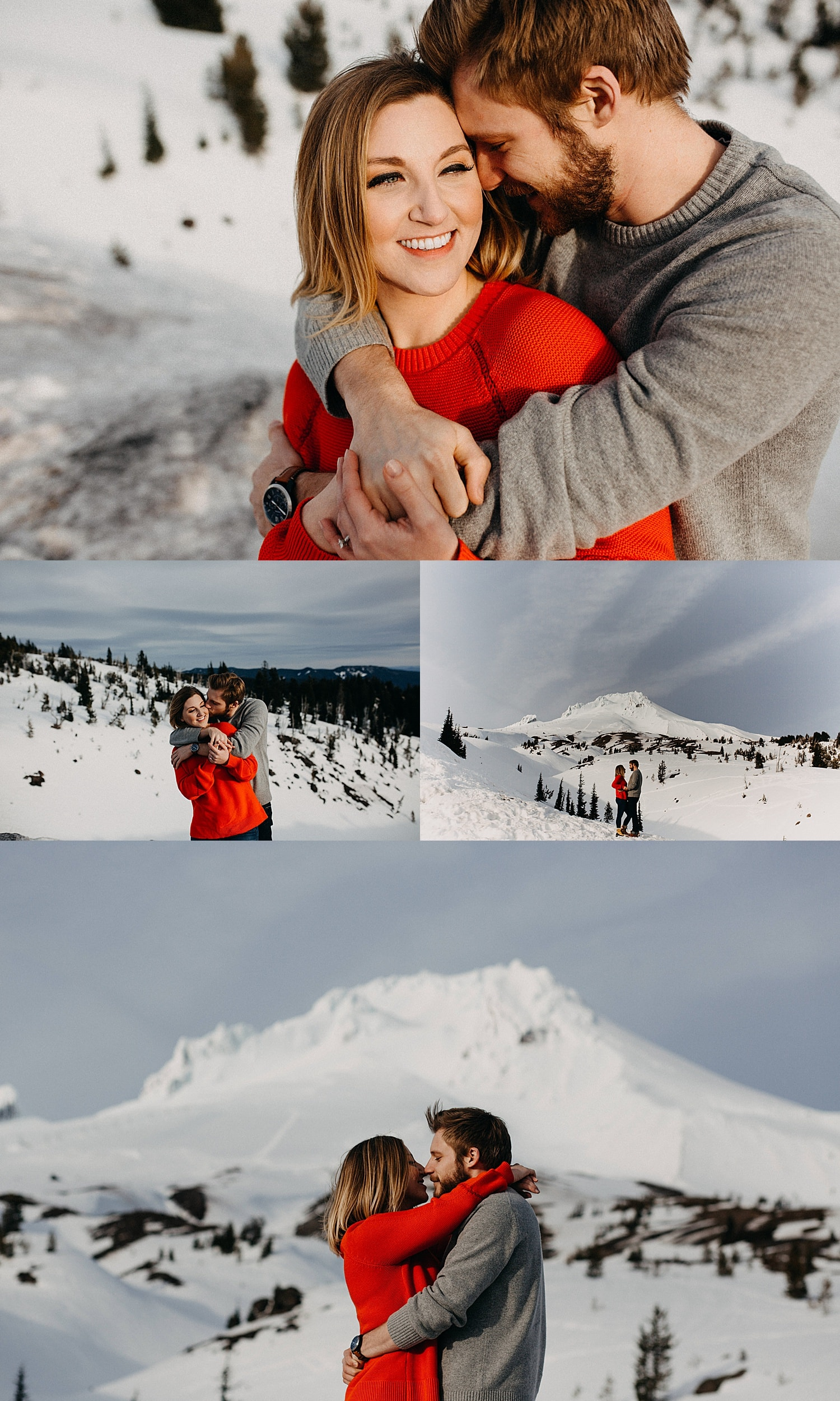 couple wearing red in front of a snow capped mt hood while they nuzzle