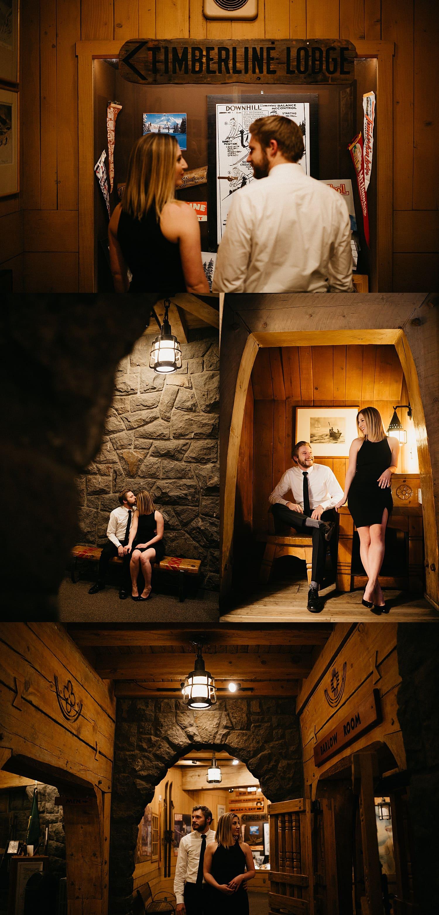 elegant couple at timberline lodge engagement session